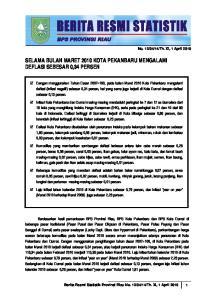 SELAMA BULAN MARET 2010 KOTA PEKANBARU MENGALAMI DEFLASI SEBESAR 0,34 PERSEN