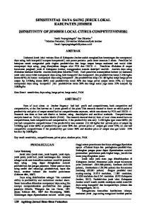 SENSITIVITAS DAYA SAING JERUK LOKAL KABUPATEN JEMBER [SENSITIVITY OF JEMBER LOCAL CITRUS COMPETITIVENESS]