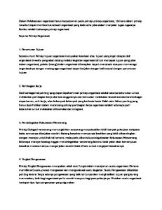 Seputar Prinsip Organisasi. 1. Perumusan Tujuan