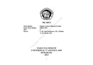 SILABUS NTAG. Mata Kuliah : Kapita Selekta Hukum Perdata Kode Mata Kuliah : HKIn 2051 SKS : 2 : 1. Dr. Edy Lisdiyono, S.H., M.Hum 2. Sri Murni, S.H