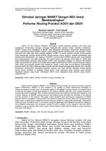 Simulasi Jaringan MANET Dengan NS3 Untuk Membandingkan Performa Routing Protokol AODV dan DSDV