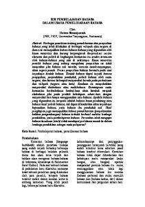 SISI PEMBELAJARAN BAHASA DALAM USAHA PEMELIHARAAN BAHASA. Oleh Hotma Simanjuntak (PBS, FKIP, Universitas Tanjungpura, Pontianak)