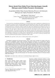 Sistem Akusisi Data Online Proses Sintering dengan Atmosfir Hidrogen untuk Prediksi Parameter Keselamatan