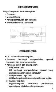 SISTEM KOMPUTER PEMROSES (CPU) Empat komponen Sistem Komputer : Pemroses Memori Utama Perangkat Masukan dan Keluaran Interkoneksi Antar Komponen