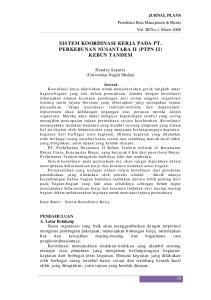 SISTEM KOORDINASI KERJA PADA PT. PERKEBUNAN NUSANTARA II (PTPN II) KEBUN TANDEM