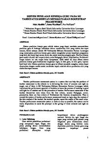 SISTEM PENILAIAN KINERJA GURU PADA MI TARBIYATUS SHIBYAN MENGGUNAKAN BOOTSTRAP FRAMEWORK Moh. Muslikh 1), Retno Wardhani 2), Nur Nafi iyah 3)