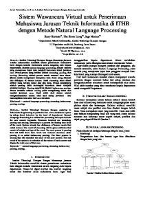 Sistem Wawancara Virtual untuk Penerimaan Mahasiswa Jurusan Teknik Informatika di ITHB dengan Metode Natural Language Processing