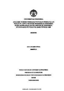 SKRIPSI DETA MARSHAVIDIA FAKULTAS HUKUM UNIVERSITAS INDONESIA PROGRAM STUDI REGULER KEKHUSUSAN HUKUM TENTANG KEGIATAN EKONOMI DEPOK