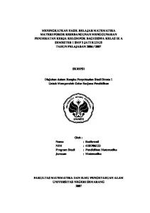 SKRIPSI. Diajukan dalam Rangka Penyelesaian Studi Strata 1 Untuk Memperoleh Gelar Sarjana Pendidikan