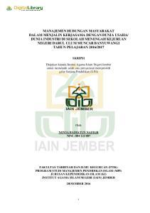 SKRIPSI. Diajukan kepada Institut Agama Islam Negeri Jember untuk memenuhi salah satu persyaratan memperoleh gelar Sarjana Pendidikan (S