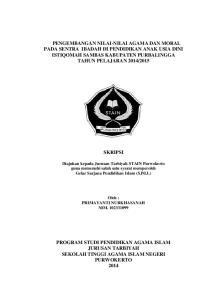 SKRIPSI. Diajukan kepada Jurusan Tarbiyah STAIN Purwokerto guna memenuhi salah satu syarat memperoleh Gelar Sarjana Pendidikan Islam (S.Pd.I