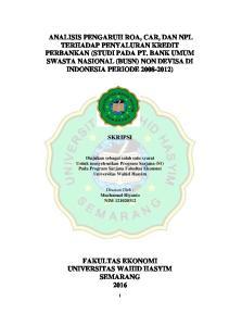 SKRIPSI. Diajukan sebagai salah satu syarat Untuk menyelesaikan Program Sarjana (S1) Pada Program Sarjana Fakultas Ekonomi Universitas Wahid Hasyim