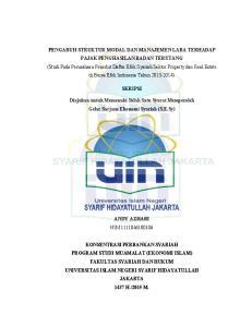 SKRIPSI. Diajukan untuk Memenuhi Salah Satu Syarat Memperoleh Gelar Sarjana Ekonomi Syariah (S.E.Sy)