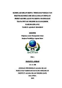 SKRIPSI. Diajukan untuk Memperoleh Gelar Sarjana Pendidikan Agama Islam. Oleh : FAIZATUL ANISAH