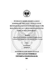 SKRIPSI. Diajukan Untuk Memperoleh Gelar Sarjana Pendidikan Jurusan Pendidikan Guru Sekolah Dasar Pada Universitas Negeri Semarang