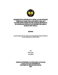 SKRIPSI. disajikan sebagai salah satu syarat untuk memperoleh gelar Sarjana Pendidikan Jurusan Pendidikan Guru Sekolah Dasar