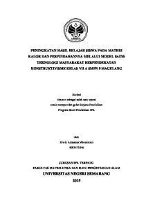 Skripsi disusun sebagai salah satu syarat untuk memperoleh gelar Sarjana Pendidikan Program Studi Pendidikan IPA HALAMAN JUDUL