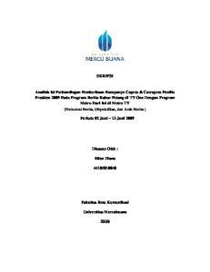 SKRIPSI. Periode 02 Juni 13 Juni Disusun Oleh : Ellen Diana. Fakultas Ilmu Komunikasi. Universitas Mercubuana