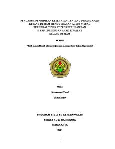 SKRIPSI. Untuk memenuhi salah satu syarat ujian guna mencapai Gelar Sarjana Keperawatan. Oleh : Muhammad Yusuf NIM S10029