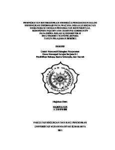SKRIPSI. Untuk Memenuhi Sebagian Persyaratan Guna Mencapai Derajat Sarjana S-1 Pendidikan Bahasa, Sastra Indonesia, dan Daerah
