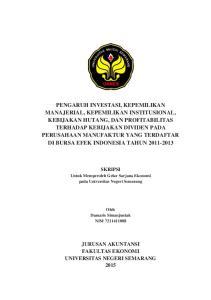 SKRIPSI. Untuk Memperoleh Gelar Sarjana Ekonomi pada Universitas Negeri Semarang. Oleh Damaris Simanjuntak NIM