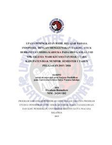 SKRIPSI untuk memperoleh gelar Sarjana Pendidikan pada Universitas Kristen Satya Wacana Salatiga. oleh Abraham Rumaikew NIM :