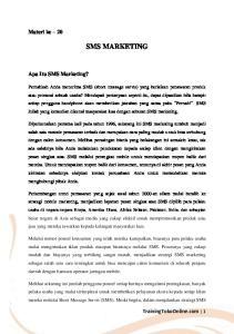 SMS MARKETING. Materi ke 20. Apa Itu SMS Marketing? TrainingTokoOnline.com 1