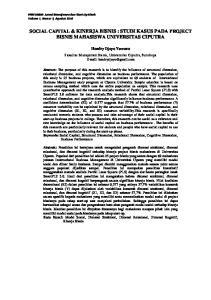 SOCIAL CAPITAL & KINERJA BISNIS : STUDI KASUS PADA PROJECT BISNIS MAHASISWA UNIVERSITAS CIPUTRA