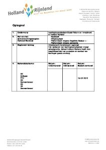 Social Return on Investment in Holland Rijnland 2. Rol van het samenwerkingsorgaan Holland Rijnland