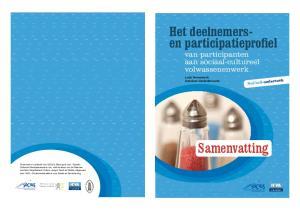 SoCiuS-onderzoek. van participanten aan sociaal-cultureel volwassenenwerk. Programma. Programma. Samenvatting