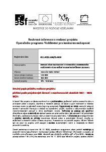 Souhrnná informace o realizaci projektu Operačního programu Vzdělávání pro konkurenceschopnost