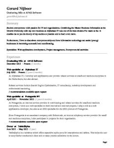 Specialties: Web applications development, Project management, Entrepreneurial activities