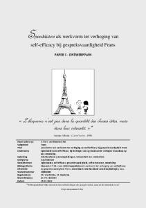 Speeddaten als werkvorm ter verhoging van self-efficacy bij gespreksvaardigheid Frans