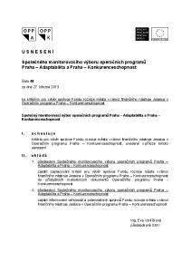 Společného monitorovacího výboru operačních programů Praha Adaptabilita a Praha Konkurenceschopnost