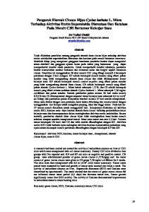 Sri Yadial Chalid Program Studi Kimia FST UIN Syarif Hidayatullah Jakarta Abstrak