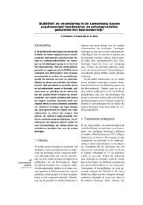 Stabiliteit en verandering in de samenhang tussen psychosociaal functioneren en schoolprestaties gedurende het basisonderwijs 1