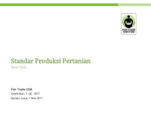 Standar Produksi Pertanian