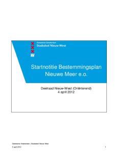 Startnotitie Bestemmingsplan Nieuwe Meer e.o