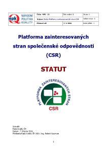 STATUT. Platforma zainteresovaných stran společenské odpovědnosti (CSR)