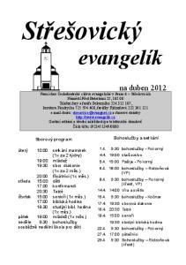 Střešovický. evangelík. na duben Bohosluţby a setkání. Sborový program