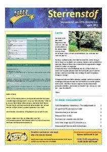 Sterrenstof. Lente. In deze nieuwsbrief: Nieuwsbrief van LETS Utrecht e.o. april 2012