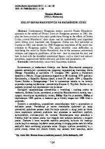 Stjepan Blažetin (Pečuh, Mađarska) KIKLOP RANKA MARINKOVIĆA NA MAĐARSKOM JEZIKU