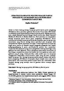 STRATEGI KAMPANYE POLITIK KOALISI PARTAI PENGUSUNG AFI-MUKMIN DALAM PEMILIHAN GUBERNUR TAHUN 2013