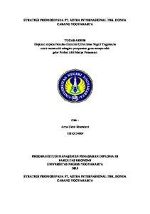 STRATEGI PROMOSI PADA PT. ASTRA INTERNASIONAL TBK. HONDA CABANG YOGYAKARTA
