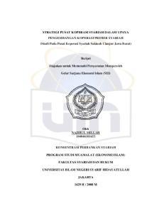 STRATEGI PUSAT KOPERASI SYARIAH DALAM UPAYA PENGEMBANGAN KOPERASI PRIMER SYARIAH (Studi Pada Pusat Koperasi Syariah Sakinah Cianjur Jawa Barat)