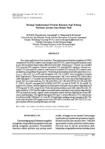 Strategi Suplementasi Protein Ransum Sapi Potong Berbasis Jerami dan Dedak Padi