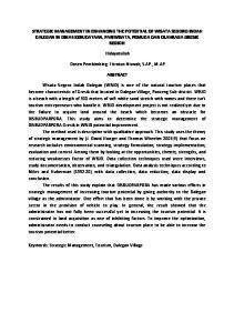 STRATEGIC MANAGEMENT IN ENHANCING THE POTENTIAL OF WISATA SEGORO INDAH DALEGAN IN DINAS KEBUDAYAAN, PARIWISATA, PEMUDA DAN OLAHRAGA GRESIK REGION