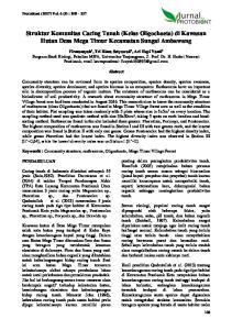 Struktur Komunitas Cacing Tanah (Kelas Oligochaeta) di Kawasan Hutan Desa Mega Timur Kecamatan Sungai Ambawang