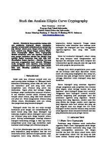 Studi dan Analisis Elliptic Curve Cryptography