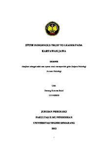 STUDI INDIGENOUS TRUST TO LEADER PADA KARYAWAN JAWA